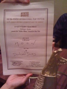 Duncan Jones twitpic of Award