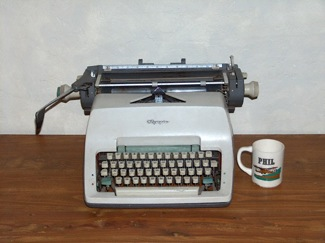 Philip K Dick typewriter & mug