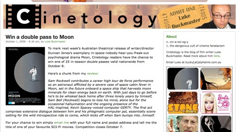 Cinetology win Moon tickets