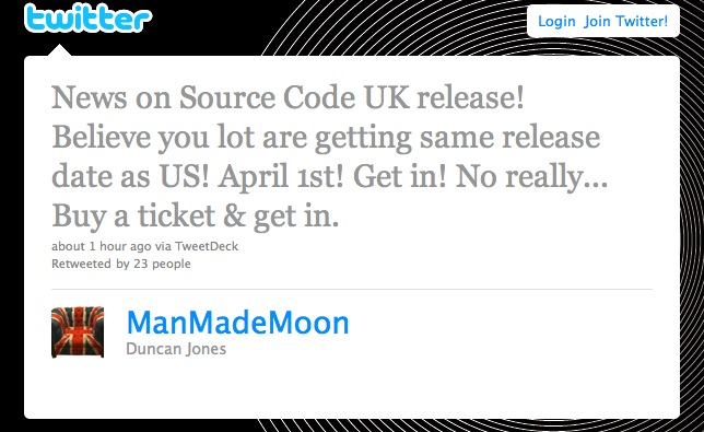 Duncan Jones confirms Source Code UK Release Date