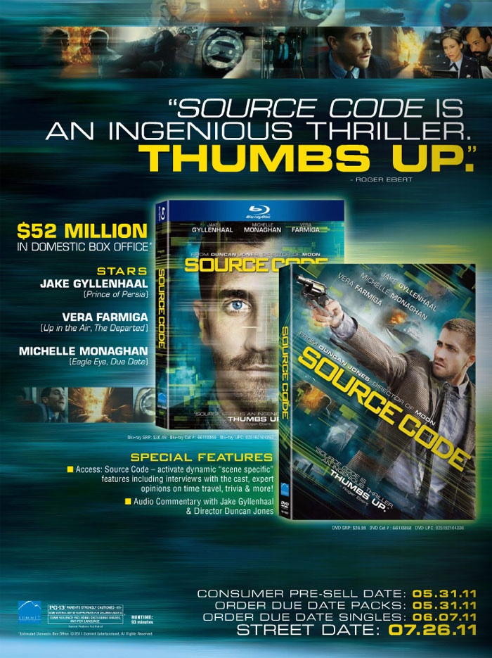 SOURCE CODE DVD / Blu-Ray Trade advertisement with some early package artwork