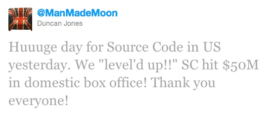 Duncan Jones announces Source Code hits $50 million at US Box Office -  6th may 2011