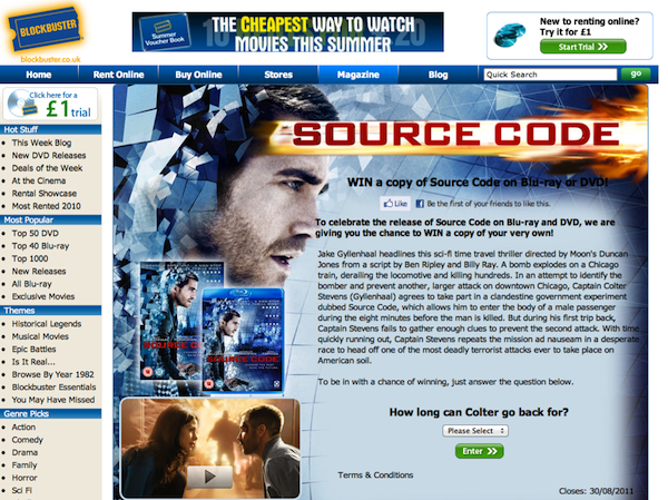 Source Code DVD / Blu-Ray Release UK Blockbuster 29th July 2011