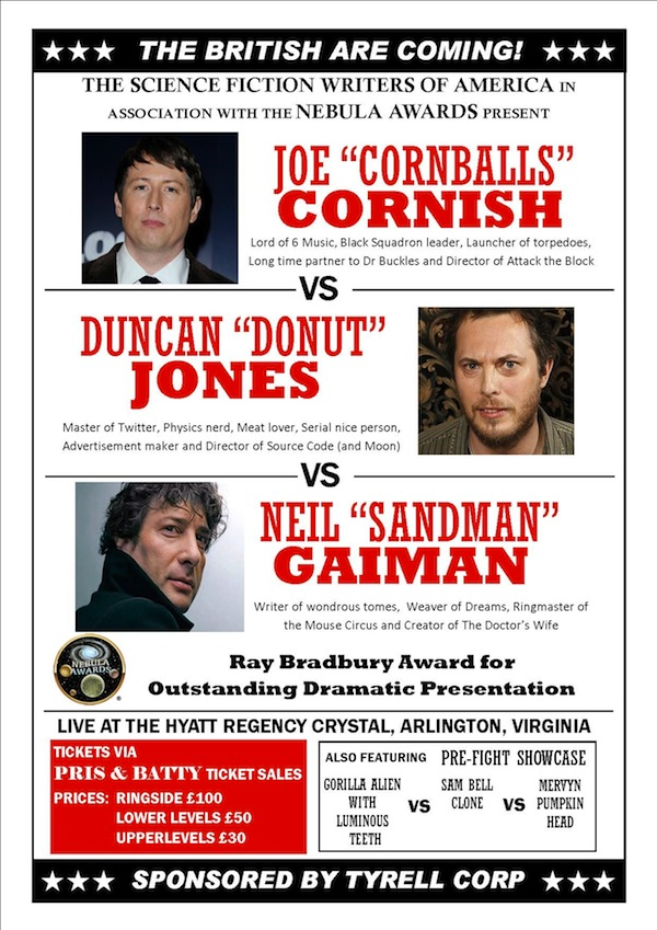 Joe Cornish v Duncan Jones v Neil Gaiman Battle for The SFWA Ray Bradbury Award 2011