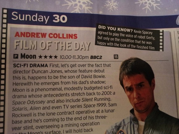 MOON film of the day BBC2 22:30 30th December 2012 - Andrew Collins