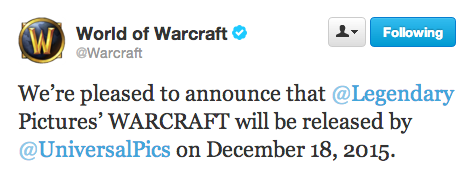 World Of Warcraft Confirm WARCRAFT Release Date