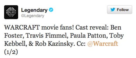 Legendary Tweet Cast For WARCRAFT