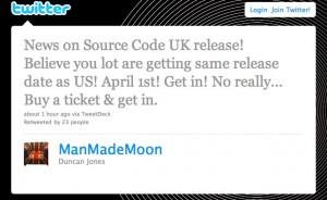 Duncan Jones confirms Source Code UK Release Date