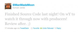 Duncan Jones - Source Code Complete 13th Jan 2011