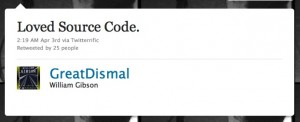 William Gibson Loved Source Code! - Twitter